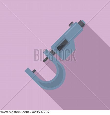 Micrometer Dimensions Icon Flat Vector. Precision Vernier. Caliper Instrument