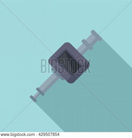 Modern Micrometer Icon Flat Vector. Caliper Scale. Micrometer Precision