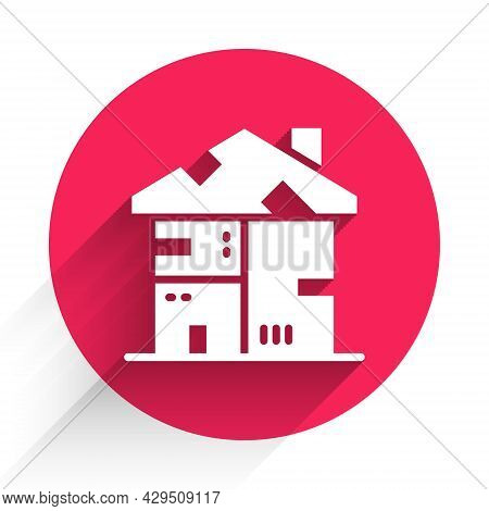 White Homeless Cardboard House Icon Isolated With Long Shadow Background. Red Circle Button. Vector