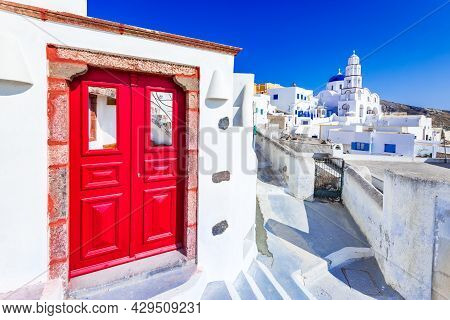 Pyrgos, Santorini, Greece. Small Whitewashed Village Of Pyrgos On Famous Island Of Santorini, Cyclad