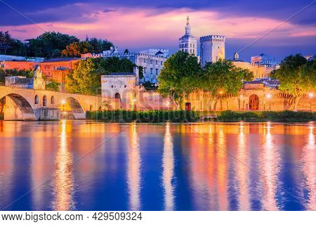 Avignon, France - Famous Medieval Papal City On The Rhone River, Provence.