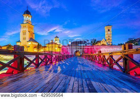Alba Iulia, Romania. Colorful Night Scene Of Medieval Alba Carolina, Transylvania Sightseeing.