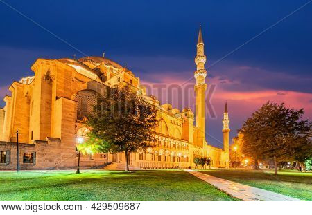 Istanbul, Turkey. Night Scene With Suleymaniye, Ottoman Imperial Mosque In Constantinople The Larges