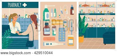 Pharmacy Store Concept Vector Illustration Set. Pharmacist And Clients In Counter At Pharmacy Shop.