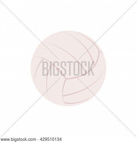 Simple Flat Icon With White Volleyball. Ball For Beach Games. Clipart, Element, Object, Item For Des