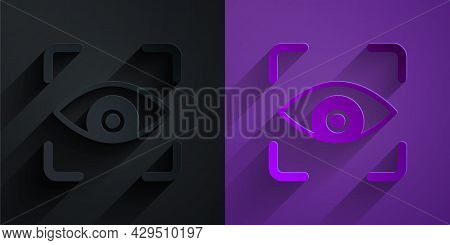 Paper Cut Eye Scan Icon Isolated On Black On Purple Background. Scanning Eye. Security Check Symbol.