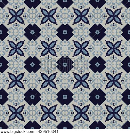 Seamless Illustrated Pattern Made Of Abstract Elements In Ligt Gray And Shades Of Blue
