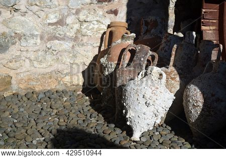 A fortress in Marmaris. At present - museum of archeological founds in antcient city Knidos.Marmaris, Turkey. August 4,2021