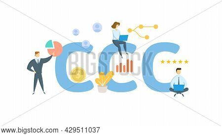 Ccc, Commodity Credit Corporation. Concept With Keyword, People And Icons. Flat Vector Illustration.