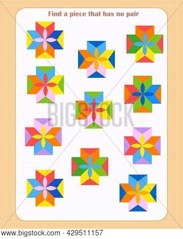 Logic Game For Children. Find Which Shape Is Unpaired. Development Of Attention. Vector Illustration
