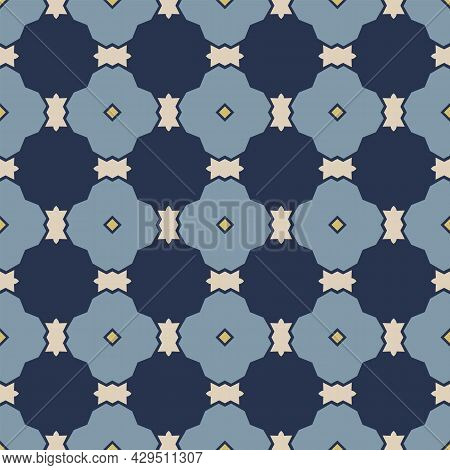 Seamless Illustrated Pattern Made Of Abstract Elements In Beige, Yellow And Shades Of Blue