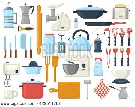 Kitchen Utensils, Cooking Culinary Serving Tools, Cutlery Symbols. Kitchenware Tools, Utensils, Tabl