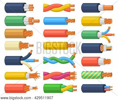 Electrical Cable Wires Flexible Electricity Equipment. Copper Core Electrical Cable, Multicore Hardw