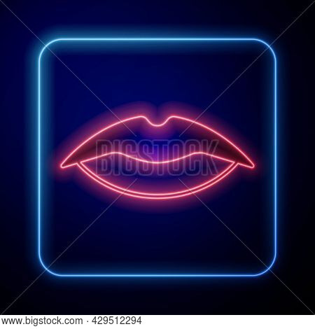 Glowing Neon Smiling Lips Icon Isolated On Black Background. Smile Symbol. Vector