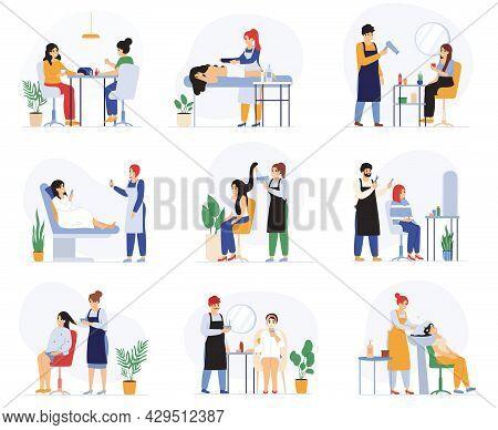 Beauty, Hairdressing, Spa Massage Salon Procedures Services. Spa Salon Customers, Manicure, Facial P