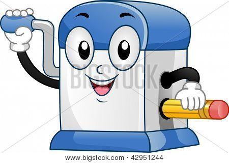 Illustration of Desktop Pencil Sharpener Mascot sharpening a Pencil