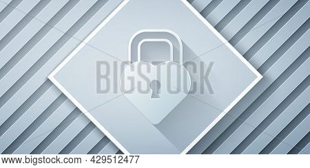 Paper Cut Castle In The Shape Of A Heart Icon Isolated On Grey Background. Locked Heart. Love Symbol