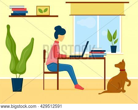 Woman Working On Laptop At House With Pet. Work Place Next To Window At Cozy Room. Vector Illustrati