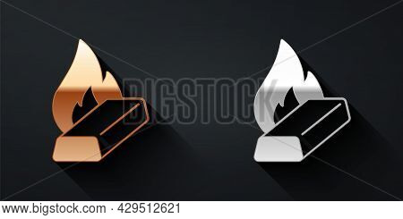 Gold And Silver Molten Gold Being Poured Icon Isolated On Black Background. Molten Metal Poured From