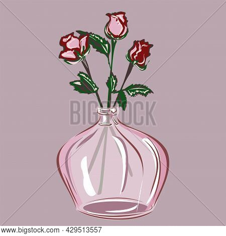 Red And Pink Roses In A Glass Or Clay Vase. Decoration Of The Interior With Plants. Home Comfort. Na