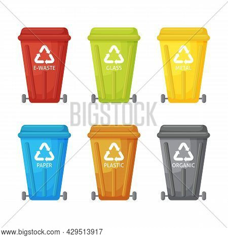 Many Garbage Cans With Sorted Garbage. Sorting Garbage. Ecology And Recycle Concept. Trash Cans Isol