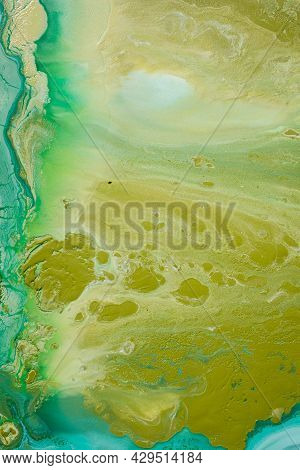 Abstract Fluid Acrylic Painting. Marbled Blue Abstract Background. Hand Painted Background With Mixe