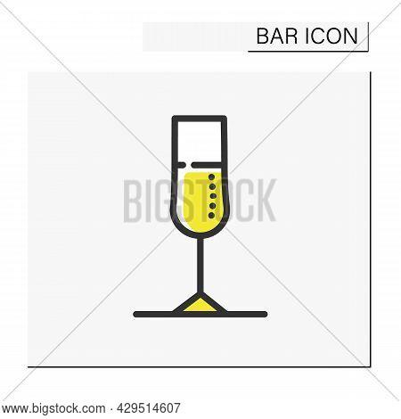 Champagne Glass Color Icon. Alcohol Stemware. Party Drink. Restaurant, Night Club, Bar Menu. Cocktai