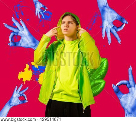 One Young Man In Bright Clothes Surrounded By Blue Female Hands. Surreal Collage