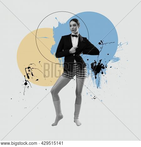 Combination Of Styles. Minimal Art Collage. One Bw Female Fashion Model In Swimming Trunks And Class