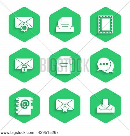 Set Document And Pen, Envelope With Star, Download Inbox, Speech Bubble Chat, Address Book, Mail Mes