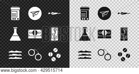 Set Medicine Bottle And Pills, Messenger, Marijuana Joint, Cocaine Or Heroin Drug, Handcuffs, Tablet