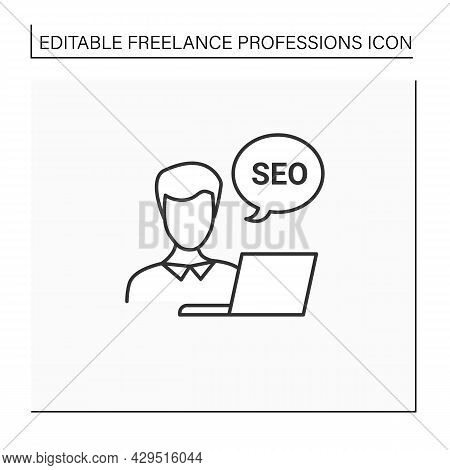 Seo Specialist Line Icon. Search Engine Optimization Specialist. Performs Internal, External Site Op