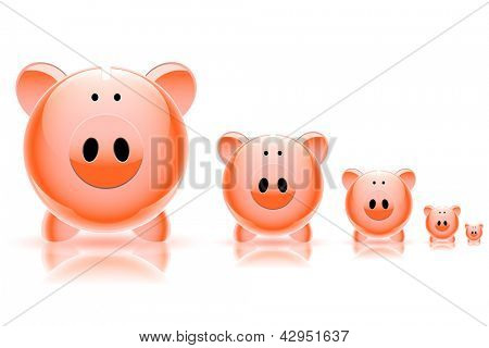 Pig piggy bank isolated on white background. Vector. poster