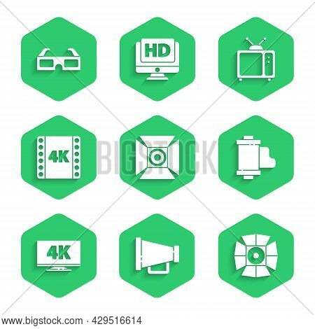 Set Movie Spotlight, Megaphone, Camera Vintage Film Roll Cartridge, Screen Tv With 4k, Movie, Tape,