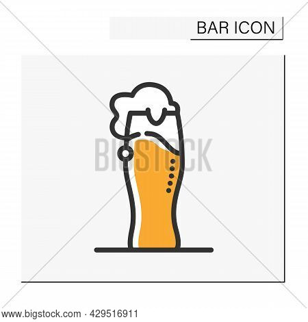 Beer Glass Color Icon. Alcohol Stemware. Party Drink. Beer Fest. Restaurant, Pub, Brewery, Bar Menu.