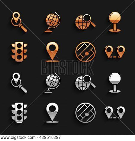Set Location, Push Pin, Route Location, Folded Map With, Traffic Light, Magnifying Glass Globe, Sear
