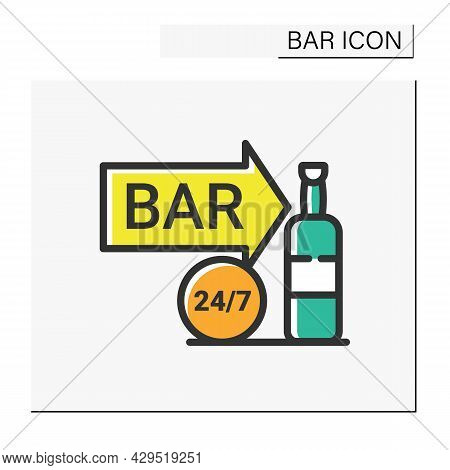 Night Bar Color Icon. Around The Clock. Bright Neon Signboard. Advertisement, Pointer. Night Luminou