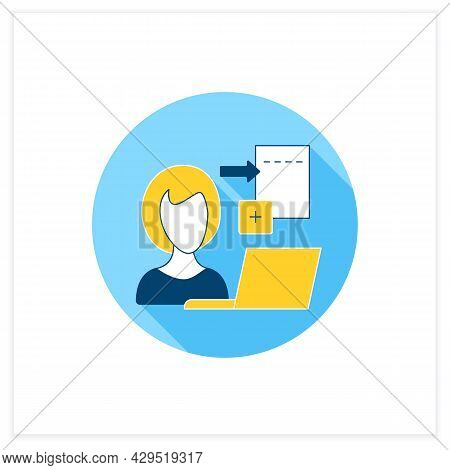 Data Entry Jobs Flat Icon.handle Different Types Of Electronic Data And Operating Devices.enter Info
