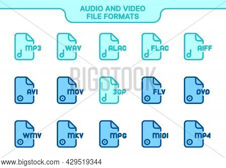 Vector Icon Set. Audio And Video File Formats Line Color Collection: Mp3, Wav, Alac, Flac, Aiff, Avi