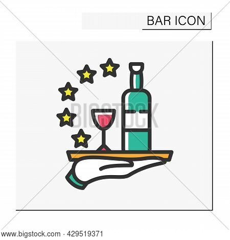 Bar Service Color Icon. High Quality, Reputation, Feedback. Restaurant, Cafe Or Bar Star Rating. Coc