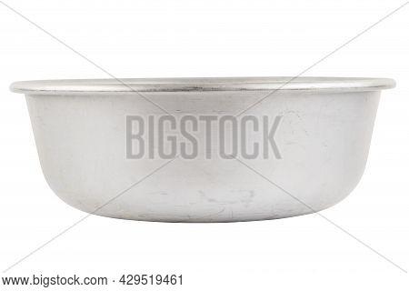 Used Bare Aluminuim Basin Isolated On White Background
