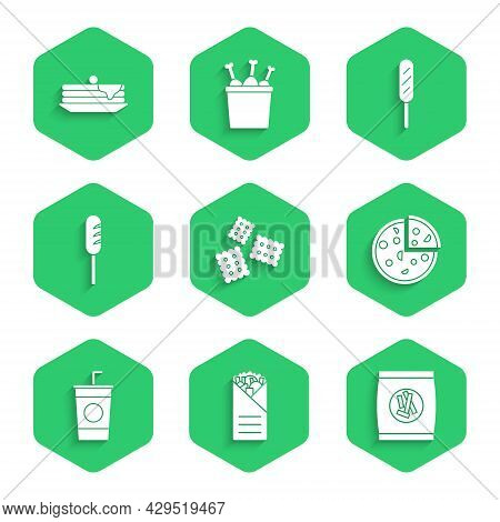 Set Cracker Biscuit, Doner Kebab, Hard Bread Chucks Crackers, Pizza, Paper Glass With Straw, Fried S