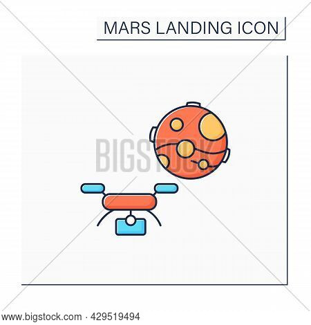 Helicopter Drone Colo Icon. Special Observing Digital Device. Sending Drones On Mars. Mars Landing C