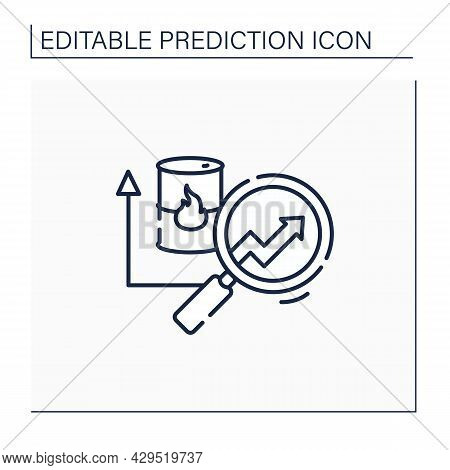 Fuel Predictive Analytics Line Icon. Market Price For Oil, Gas. Automation, Detailed Research Perfec