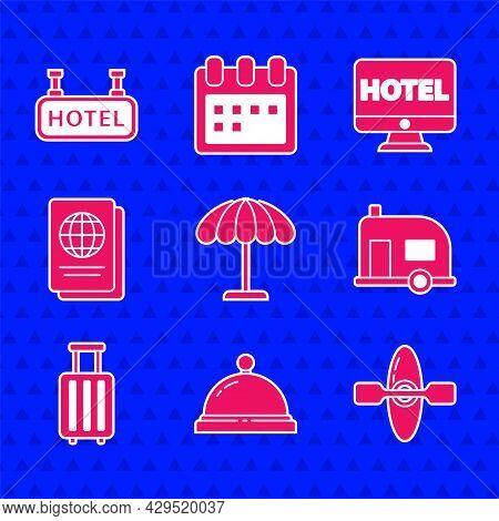 Set Sun Protective Umbrella For Beach, Hotel Service Bell, Kayak Canoe, Rv Camping Trailer, Suitcase