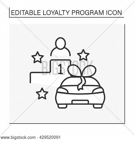 Contest Line Icon.raffle Of Prizes Between Customers. Car For Main Winner. First Place. Loyalty Prog