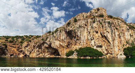 Beautiful Panoramic View At Vouliagmeni Lake, Spa And Thermal Resort Near To Athens, Greece