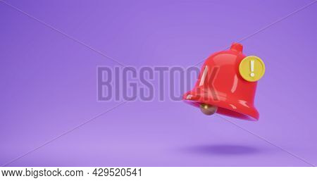 3d Render Icon Of Red Notification Bell With New Urgent Message Isolated On Purple Background. Socia