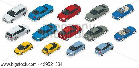 Isometric High Quality City Transport Car Icon Set. Urban, City Cars And Vehicles Transport Vector F