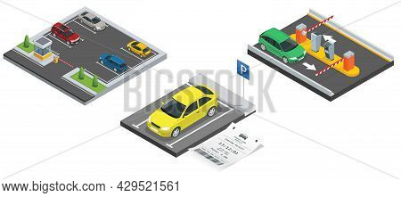 Isometric City Parking Lot With A Set Of Different Cars. Public Car-park. Car In The Parking Lot And
